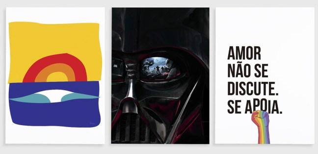 Foto mostra artes da DePoster de um sol estilizado, Darth Vader e uma mão com uma frase,