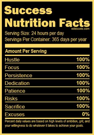 Success Nutrition Facts - Black - Branded - HI. I'M ED. - BLOG.EDESCOTO.COM