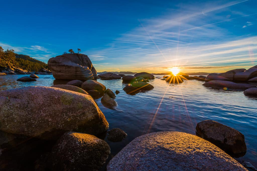 Bonsai Rock Sunset Lake Tahoe