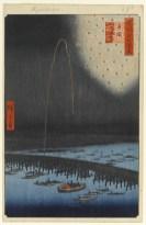 """Fireworks at Ryogoku (Ryogoku Hanabi),"" from "" One Hundred Famous Views of Edo"" by Utagawa Hiroshige, courtesy the Brooklyn Museum"