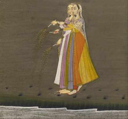 """""""Two Nautch Girls with Sparklers by a Stream on the Night of the Diwali Festival"""" (1805), courtesy Museum of Fine Arts, Houston"""