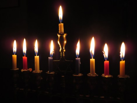 Learn more about the menorah here. Photograph by kevindvt, courtesy Pixabay. Public domain.