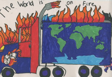 """The World is On Fire"" by Matthew Netley, Cole Vondra, and Jack Lane from Livingston, Montana, age 11."