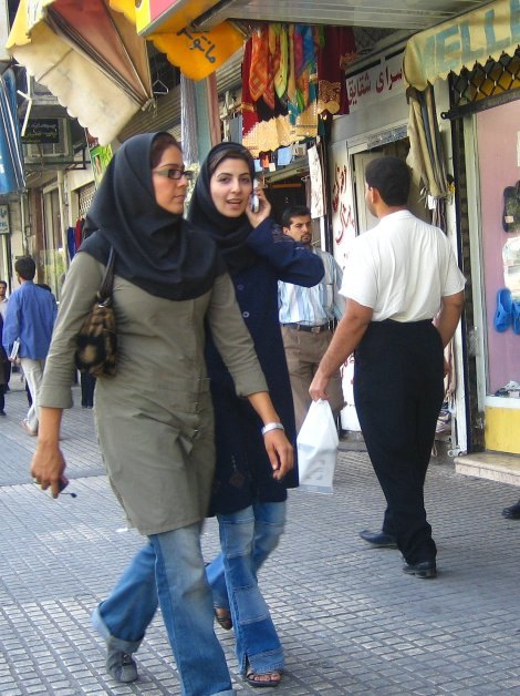 """I think if the Iranian people had freedom, they would wear jeans, listen to Western music, and have free elections,"" said Israeli Prime Minister Benjamin Netanyahu. Young Tehranis like these lovely ladies were quick to point out that they do, in fact, wear jeans and listen to Western music. Photograph by Zoom Zoom, courtesy Wikimedia. This file is licensed under the Creative Commons Attribution-Share Alike 2.0 Generic license."