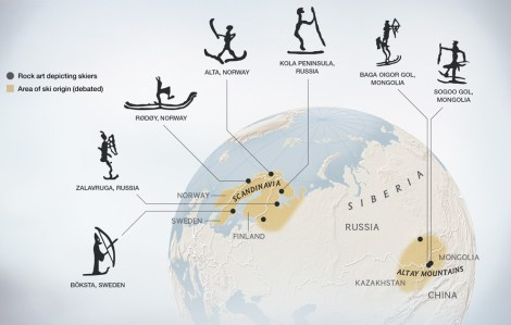 Historians are divided on where skiing was born. Some argue it arose in Scandinavia and northwest Russia, though others point to the Altay region. Scientists continue to find evidence of these early skiers engraved in rock and preserved in bogs. Map by Daniela Santmarina, National Geographic Magazine; Debbie Gibbons, National Geographic Maps, Debbie Gibbons Source: Esther Jacobson-Tepfer
