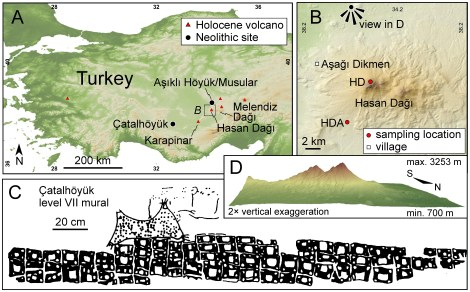 "This illustration, which accompanies the scientific paper analyzing the eruption of Hasan Dagi, shows a black-and-white rendering of a wall painting unearthed at the archaeological site of Catal Huyuk. The mural may or may not be the world's first map—of a two-peaked volcano just beyond the square buildings of an ancient community. Illustration courtesy PLoS One, ""Identifying the Volcanic Eruption Depicted in a Neolithic Painting at Çatalhoyuk, Central Anatolia, Turkey"" Axel K. Schmitt, Martin Danisik, Erkan Aydar, Erdal Sen, Inan Ulusoy, Oscar M. Lovera"