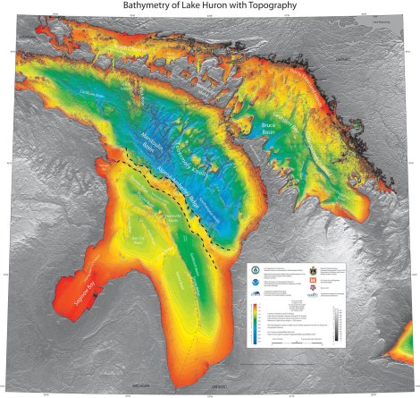 This gorgeous bathymetric map of Lake Huron clearly shows the Alpena-Amberley Ridge, which once connected Michigan with Canada. Evidence of ancient hunting sites have been found in the now-submerged ridge. Map by NOAA GLERL