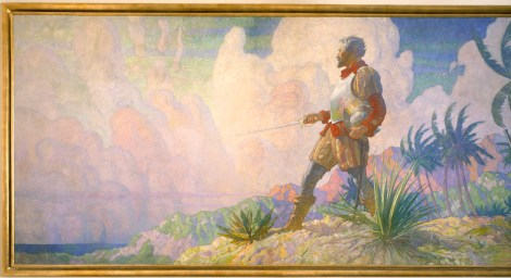 """This is part of a painting titled """"The Discoverer,"""" which hangs in Hubbard Hall at National Geographic in Washington, D.C. It is one of three paintings in a series called """"The Romance of Discovery By Land, Air, and Sea."""" This paining depicts explorers discovering a new land. Painting by N.C. Wyeth, Photograph by Victor R. Boswell, Jr., National Geographic Creative"""