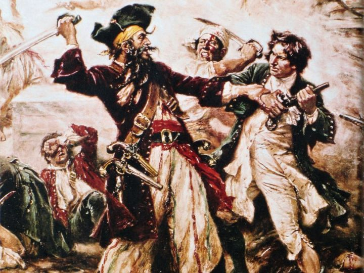 Capture of the Pirate, Blackbeard, 1718 depicting the battle between Blackbeard the Pirate and Lieutenant Maynard in Ocracoke Bay. This work is in the public domain in the United States.