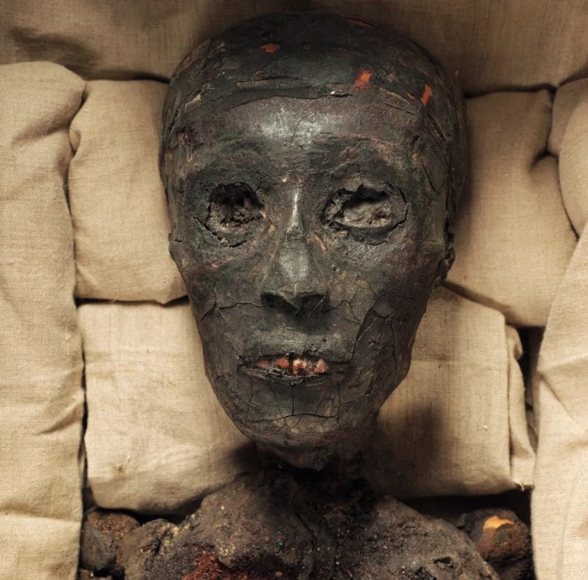 "HAPPY HALLOWEEN! While the gold funeral mask is one of the prize possessions at the Egyptian Museum of Antiquities, King Tut himself remains safe in his tomb, KV62. (""KV"" stands for ""Kings' Valley/Valley of the Kings,"" an area where the tombs of pharaohs and other nobles were buried.) Photograph by Kenneth Garrett, National Geographic"