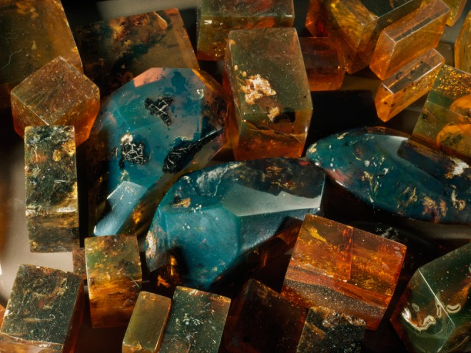 Blue amber, also called Dominican amber and found only on the Caribbean island of Hispaniola (particularly the Dominican Republic), is is one of the most valuable types of amber. Photograph by Paul Zahl, National Geographic