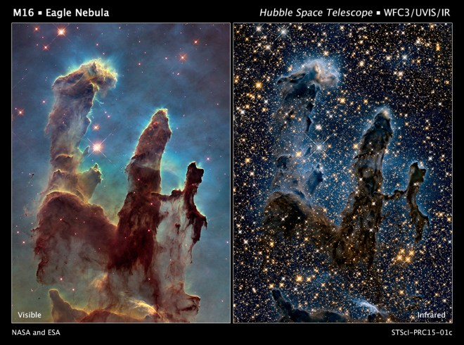 This image of the Pillars of Creation compares the visible (left) and near-infrared (right) versions. Photograph by NASA, ESA, and the Hubble Heritage Team (STScI/AURA)