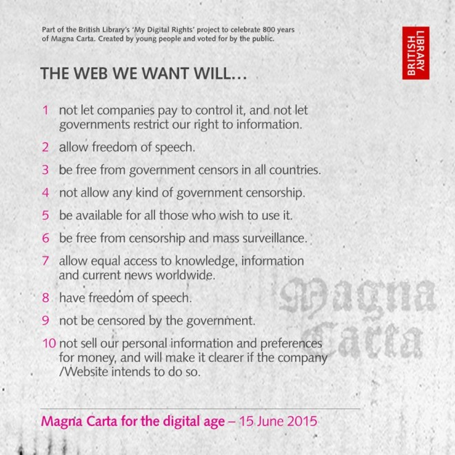 Vote here for the freedom, access, and privacy clauses you think should be included in a digital Magna Carta.