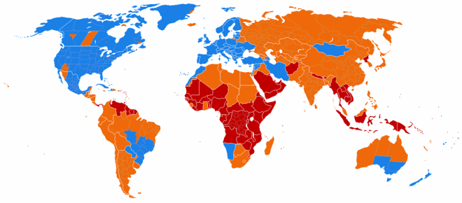 Although daylight saving time is not used in most world countries (red and orange), it is common throughout most of the Western world. Map by Paul Eggert, courtesy Wikimedia. CC-BY-SA-3.0
