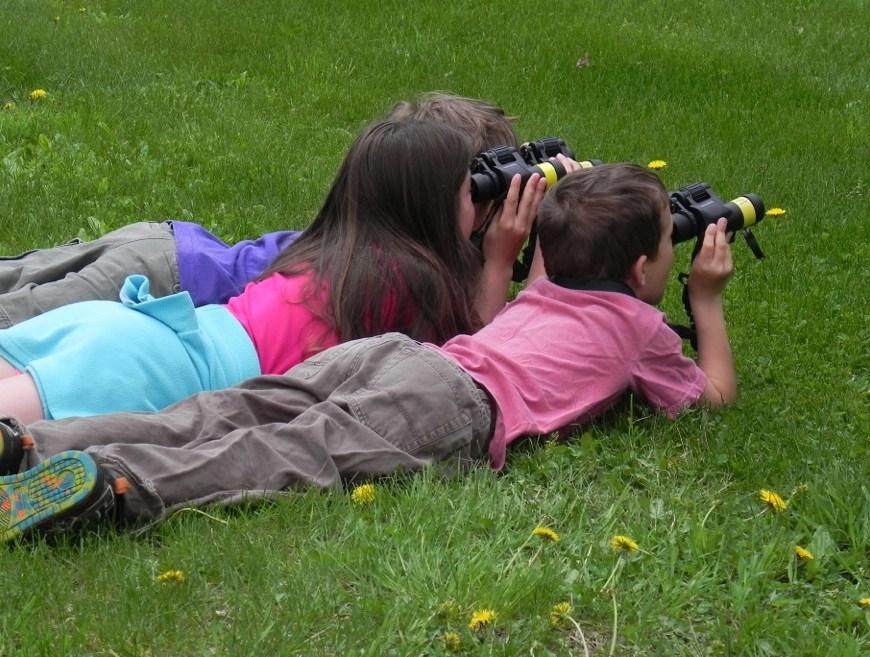 Kids birdwatching