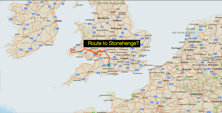Take a look at the second bookmark on today's MapMaker Interactive map to see one of archaeologists' best guesses about how the bluestones got from Wales to Stonehenge.
