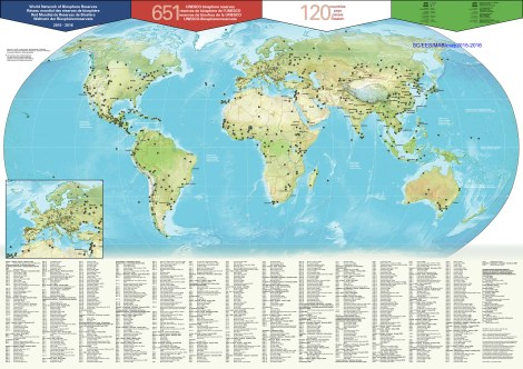 Click to enlarge this map! UNESCO's Man and the Biosphere program boasts 669 sites around the world.