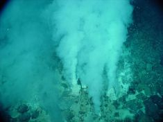 White smokers, like the so-called Champagne vents off the Caribbean island of Dominica, are cooler and more acidic than black smokers. The vent fluids in white smokers lack high metallic content, which gives them their lighter color. Photograph courtesy NOAA