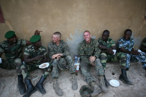 U.S. Marines relax with Senegalese Commandos and Nigerian Navy Special Boat Service operators at the conclusion of a three week military exchange in support of Africa Partnership Station in 2011.  Photo by Lance Cpl. Timothy L. Solano, U.S. Marine Corps