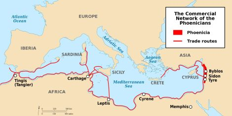 Phoenicia itself was a relatively small area centered around the coastal city of Tyre, in modern-day Lebanon. However, the Phoenician trading network extended from the Fertile Crescent in the east, through the islands of the Mediterranean, and as far as the British Isles in the west. Map by Yom, courtesy Wikimedia. CC-BY-SA-3.0