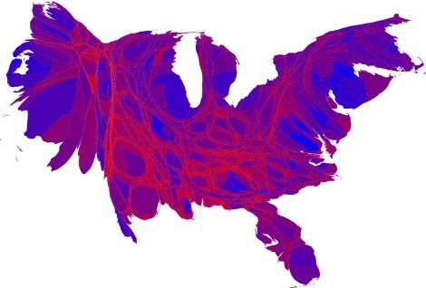 We, the purple: This terrific cartogram displays the popular vote in the 2008 presidential election, with each county rescaled in proportion to its population. Deeper blue represents a Democratic majority, brighter red represents a Republican majority. Barack Obama (blue) won the popular vote over John McCain (red). Map by M.E.J. Newman, courtesy Wikimedia. CC-BY-2.0