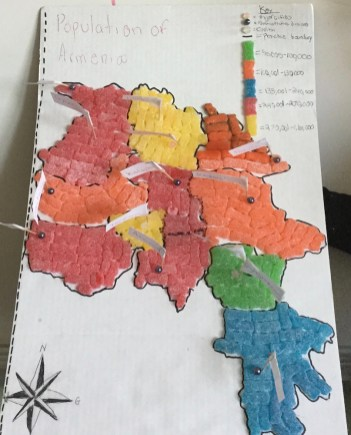 Students created maps using household materials and data of their choice. Photo by Ryan Lipford