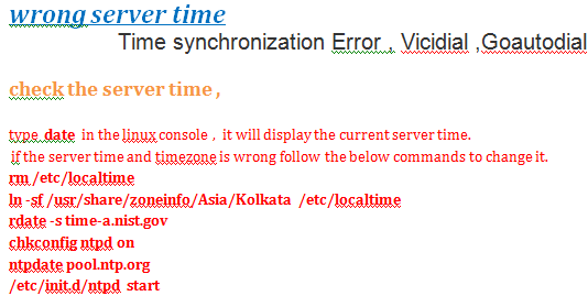 Time synchronization Error , Vicidial ,Goautodial