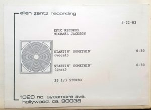 Startin' Somethin' - Rare pair of 1983 US ultra-high-grade methyl cellulose metal based lacquer reference single sided test pressing acetates with a playing speed of 33 1/3rpm, featuring the Vocal and Instrumental versions