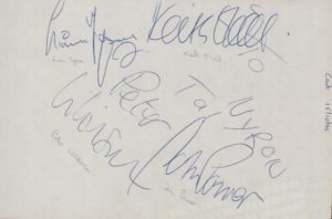 CAST Page From An Autograph Book - 1995 UK page from an autograph book that has been clearly signed by Peter Wilkinson, John Power, Liam Tyson & Keith O'Neill on 15th October that year