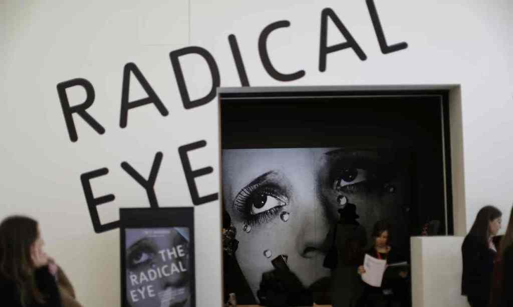 A poster of Man Ray's Glass Tears is displayed at The Radical Eye exhibition at the Tate Modern in London. Photograph: Matt Dunham/AP