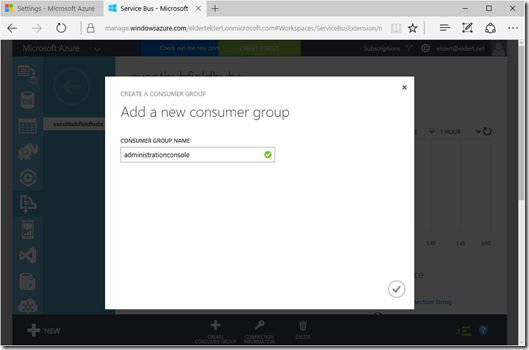 Azure Event Hubs Consumer Group Creation