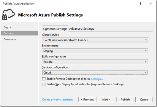 Azure Publish Settings