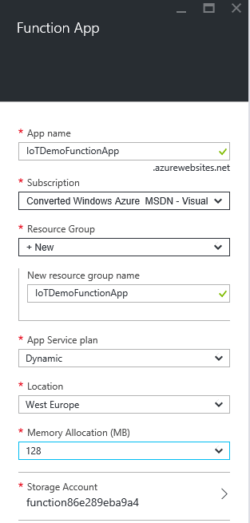 Azure Function Dynamic App Service Plan