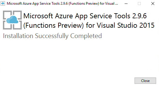 installvisualstudiotoolsforazurefunctionscompleted