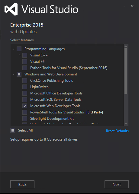visualstudioinstallationoptions