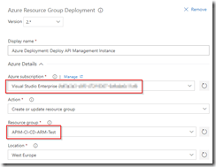 Set Azure details for test environment