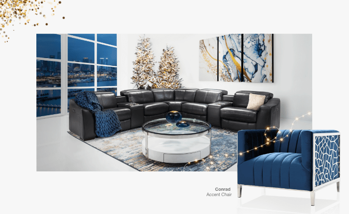 Black sofa, white coffee table, blue chair, rug, and wall art in collage setting by El Dorado Furniture
