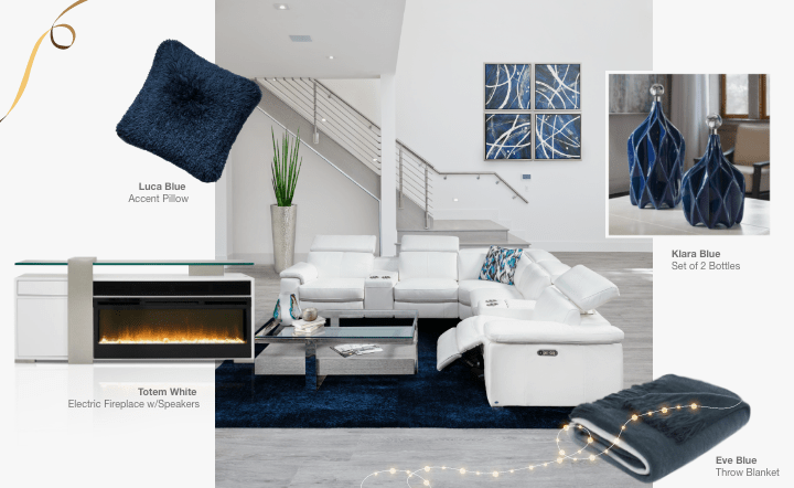 White sofa, blue rug, blue wall art, white fireplace, blue accent pillow, blue bottles, gray coffee table, silver planter, and blue throw blanket in collage setting by El Dorado Furniture