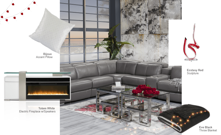 White accent pillow, red sculpture, black throw blanket, white fireplace, and gray sofa in collage setting by El Dorado Furniture