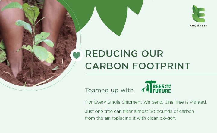 Earth day graphic with legs in brown dirt with green plants and Trees for the Future logo