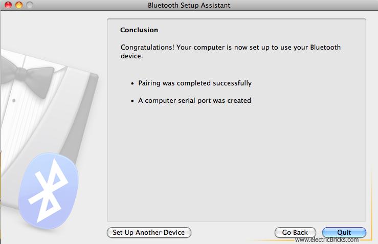 Conectar NXT por Bluetooth a MAC: Pairing succesful