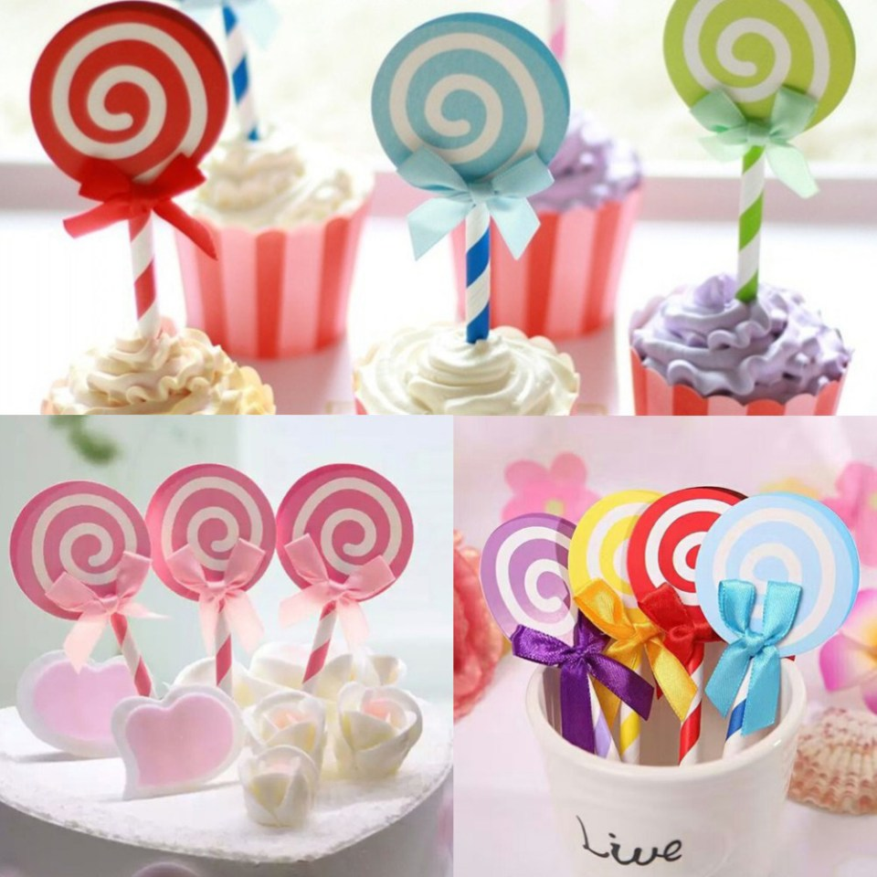 New-6PCS-Cute-font-b-Lollipop-b-font-font-b-Party-b-font-supplies-cupcake-toppers