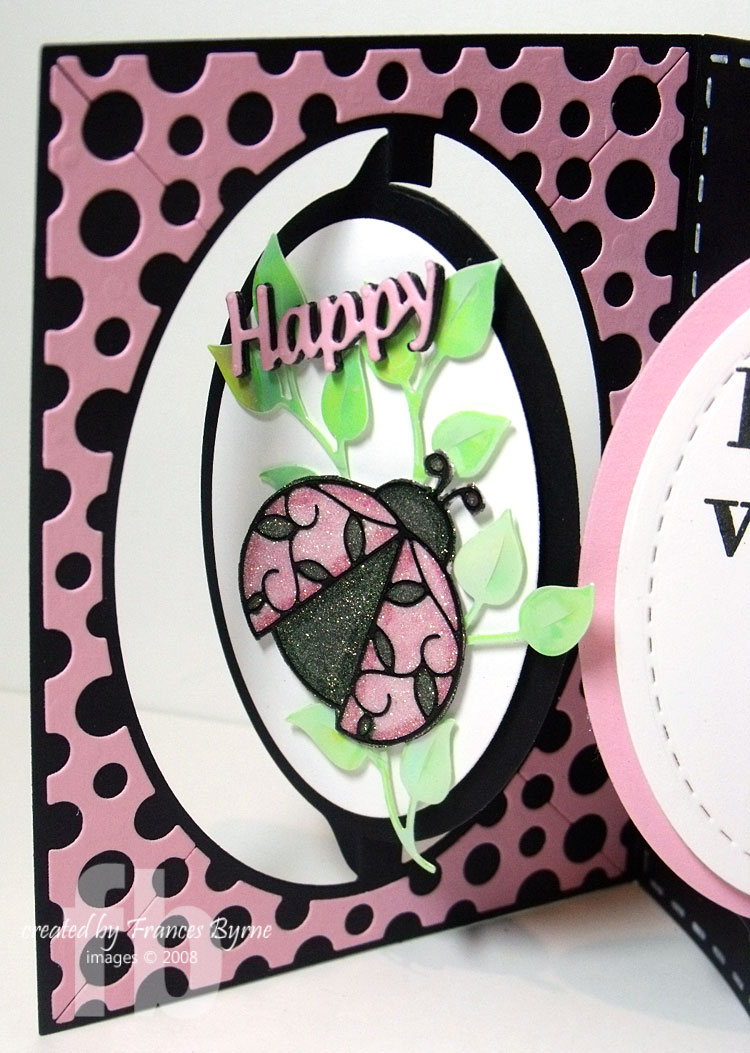 pink lady bug accordion birthday card