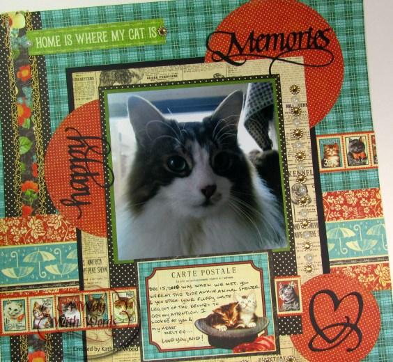 Elizabeth Craft Designs Graphic 45 Suzanne Cannon Way With Words Raining Cats and Dogs Scrapbook Layout Kathy Jo 6