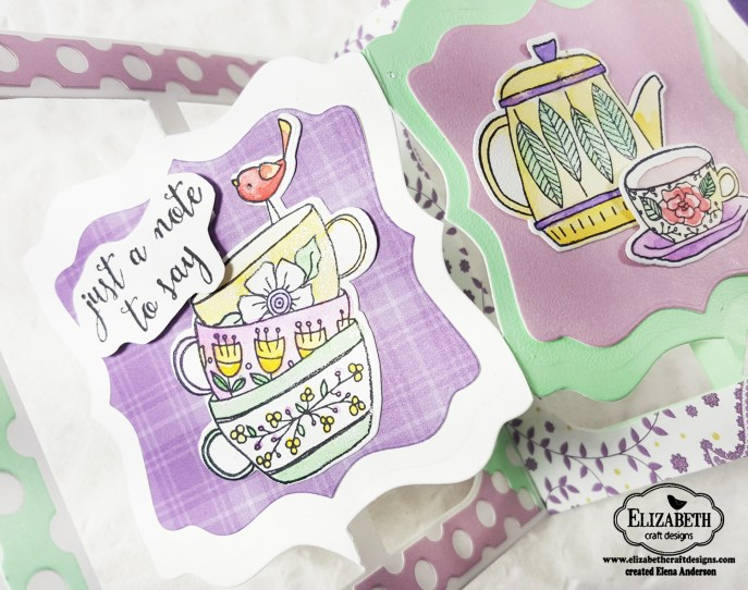 Fancy Tea Time Accordion Card Detail