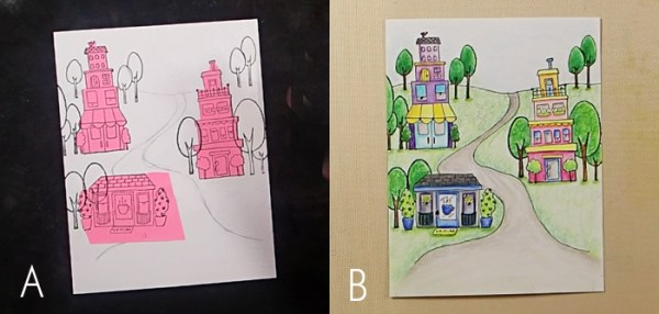 Row Houses Postage Stamp Card - Step 1