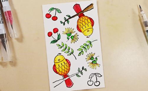 Bird on a Wire Card - Step 1