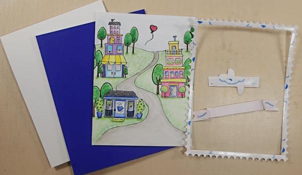 Row Houses Postage Stamp Card - Step 4