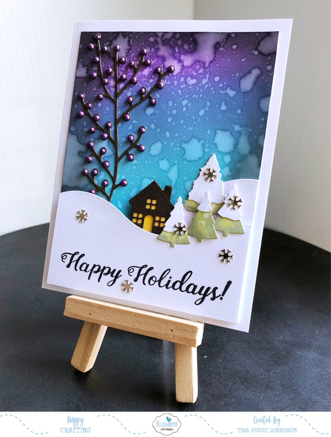 Happy Holidays Hillside Scene Card Elizabeth Craft Designs