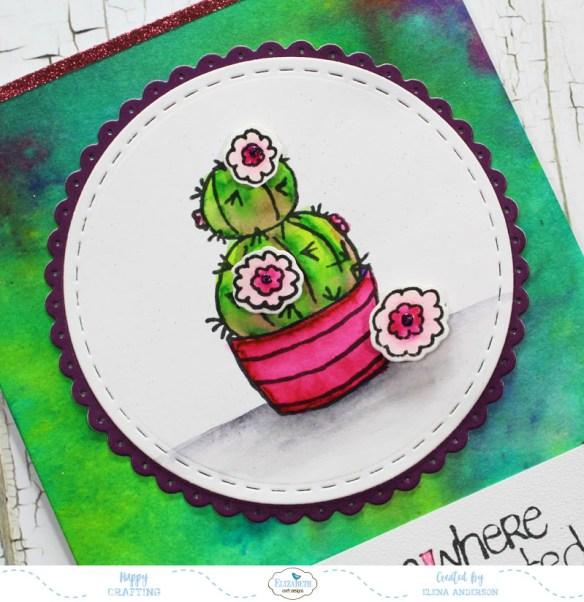 Watercolor Cactus Card - Detail